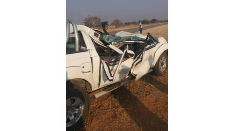 Bakkie collides with elephant