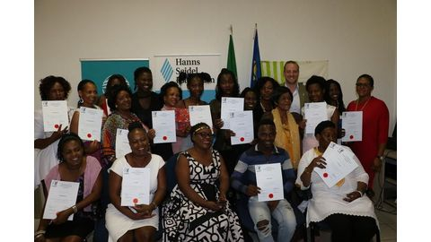 Graduates receive certificates with the help of CHANGE and FNB Namibia